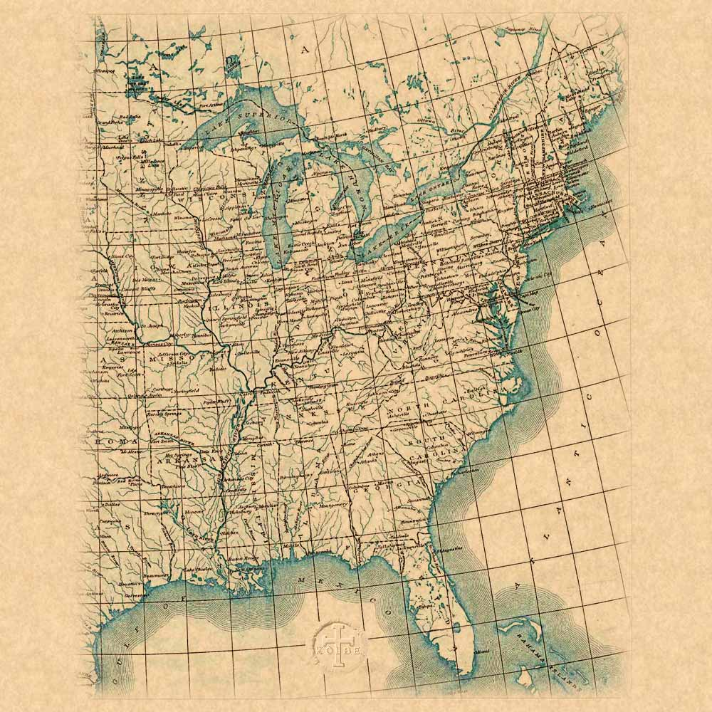 The Kolbe Foundation Historical Map Collection North America - Bodies of water map us
